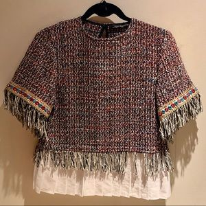 Tweed top with fringe from Zara